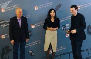 Руководитель информационного агентства Sputnik Руслан Бганба во время вручения премий Союза журналистов Абхазии